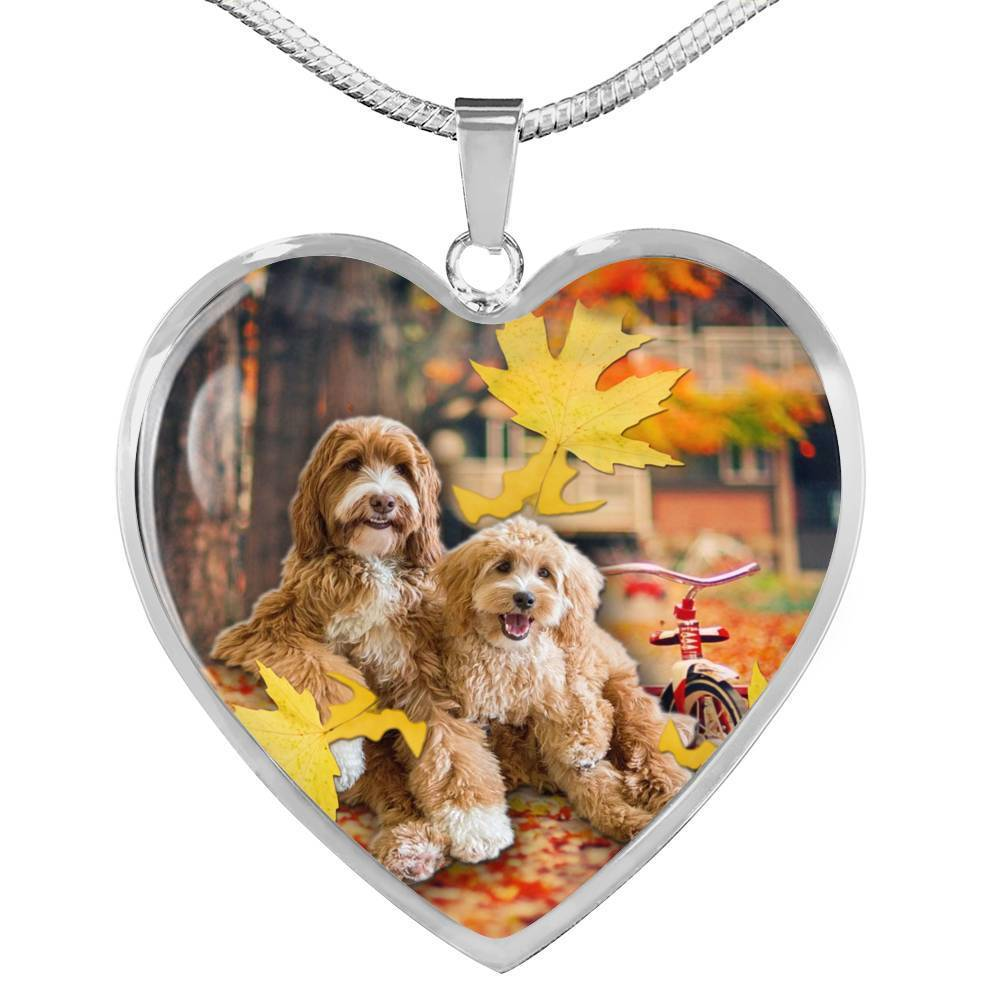 Cute Labradoodle Print Heart Pendant Luxury Necklace-Free Shipping - Deruj.com