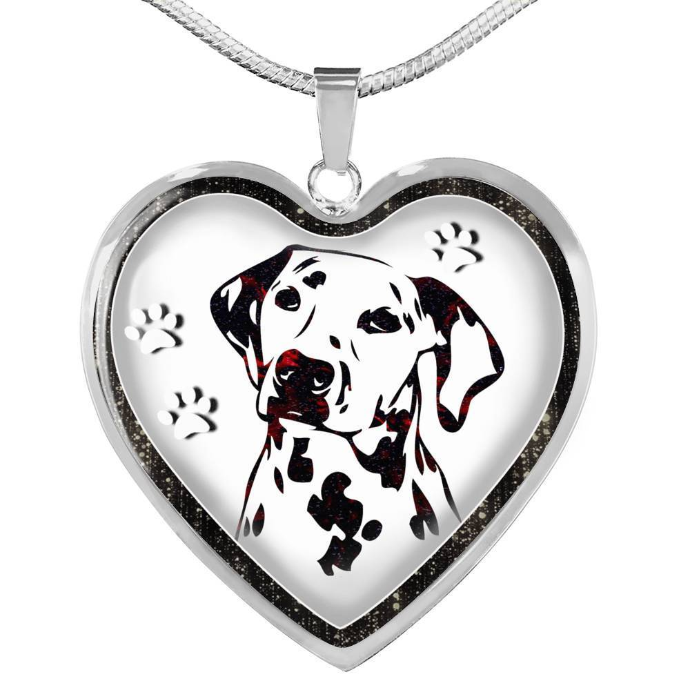 Lovely Dalmatian Dog Print Heart Charm Necklaces-Free Shipping - Deruj.com