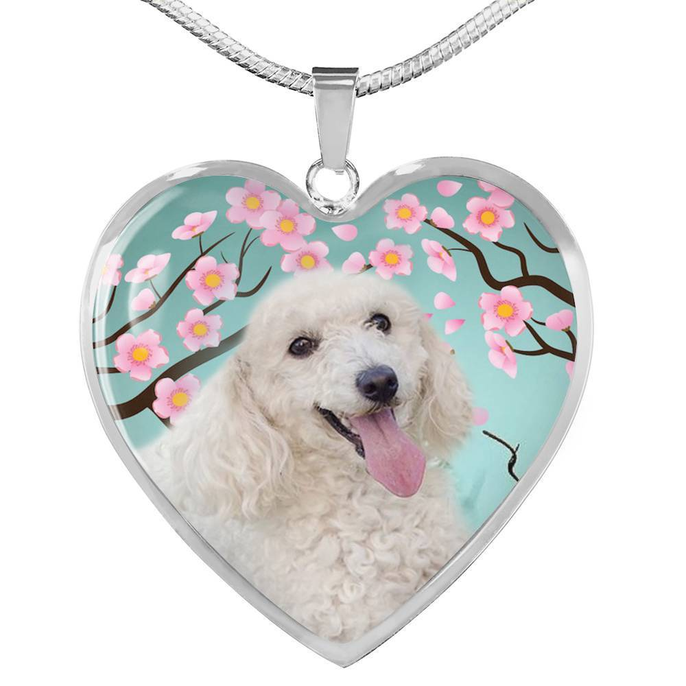 Poodle Dog Print Heart Pendant Luxury Necklace-Free Shipping - Deruj.com