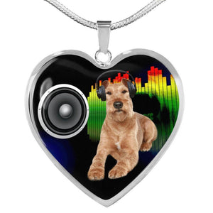 Irish Terrier Dog Print Heart Pendant Luxury Necklace-Free Shipping - Deruj.com