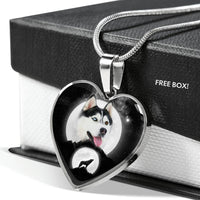 Amazing Siberian Husky Print Heart Pendant Luxury Necklace-Free Shipping - Deruj.com