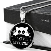 """ I Love My Cat"" Print Circle Pendant Luxury Necklace-Free Shipping - Deruj.com"