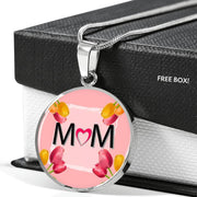 """MOM"" Print Circle Pendant Luxury Necklace-Free Shipping - Deruj.com"