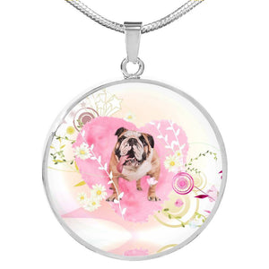 Bulldog Print Circle Charm Luxury Necklace-Free Shipping - Deruj.com
