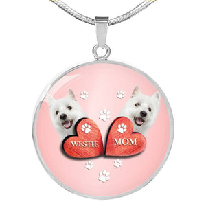 West Highland White Terrier (Westie) Print Circle Charm Luxury Necklace-Free Shipping - Deruj.com