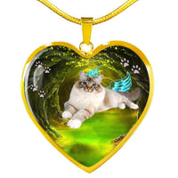 Birman Cat Print Heart Charm Necklaces-Free Shipping - Deruj.com