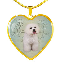 Bichon Frise Dog Heart Pendant Luxury Necklace-Free Shipping - Deruj.com