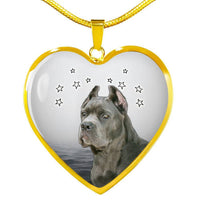 Cane Corso Print Heart Pendant Luxury Necklace-Free Shipping - Deruj.com