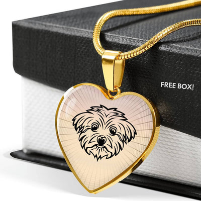 Maltese Dog Vector Art Print Heart Charm Necklaces-Free Shipping - Deruj.com