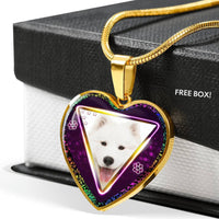 Lovely Samoyed Dog Print Heart Charm Necklaces-Free Shipping - Deruj.com