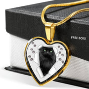 Nebelung Cat Print Heart Charm Necklaces-Free Shipping