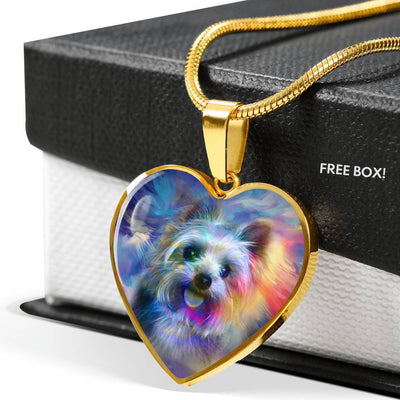 Yorkie Art Print Heart Pendant Luxury Necklace-Free Shipping - Deruj.com