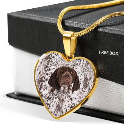 German Shorthaired Pointer Dog Print Heart Pendant Luxury Necklace-Free Shipping - Deruj.com
