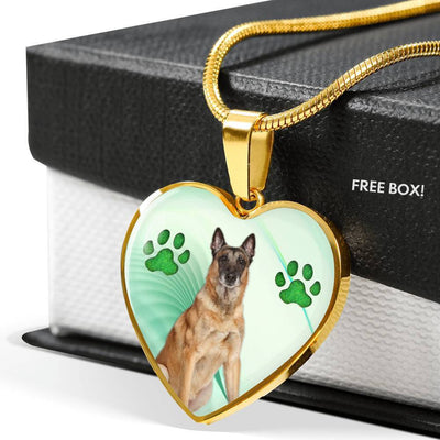 Belgian Malinois Dog Print Heart Pendant Luxury Necklace-Free Shipping - Deruj.com