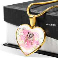 Bulldog Print Heart Charm Luxury Necklace-Free Shipping - Deruj.com