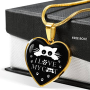 """ I Love My Cat"" Print Heart Pendant Luxury Necklace-Free Shipping - Deruj.com"