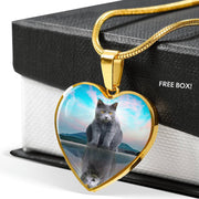 Chartreux Cat Print Heart Pendant Luxury Necklace-Free Shipping - Deruj.com