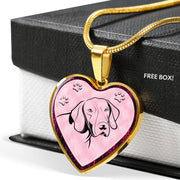 German Shorthaired Pointer Dog Print Heart Charm Necklaces-Free Shipping - Deruj.com