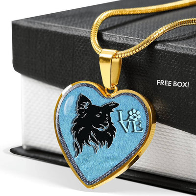 Papillon Dog On Denim Print Heart Charm Necklaces-Free Shipping