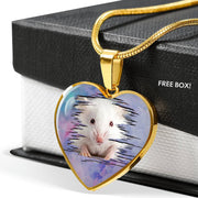 Cute White Hamster Print Heart Charm Necklaces-Free Shipping