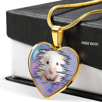Cute White Hamster Print Heart Charm Necklaces-Free Shipping - Deruj.com
