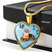 Toyger Cat Print Heart Charm Necklaces-Free Shipping - Deruj.com