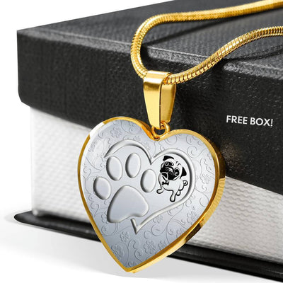 Pug Paws Print Heart Pendant Luxury Necklace-Free Shipping - Deruj.com
