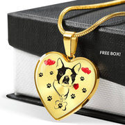 Cute Boston Terrier Print Heart Pendant Luxury Necklace-Free Shipping - Deruj.com