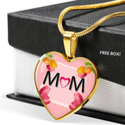 """MOM"" Print Heart Pendant Luxury Necklace-Free Shipping - Deruj.com"