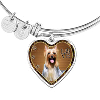 Australian Silky Terrier Dog Print Heart Pendant Bangle-Free Shipping - Deruj.com