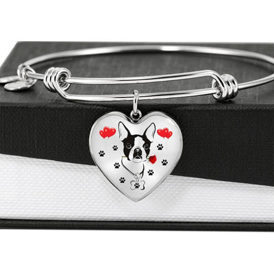 Cute Boston Terrier Print Heart Pendant Luxury Bangle-Free Shipping - Deruj.com