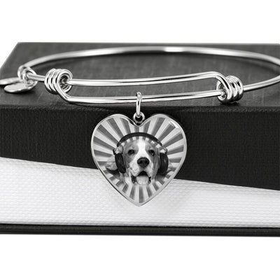 Beagle Print Luxury Heart Charm Bangle -Free Shipping - Deruj.com