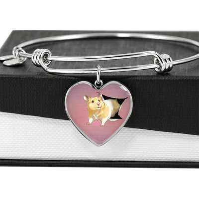 Lovely Hamster Print Heart Pendant Bangle-Free Shipping - Deruj.com