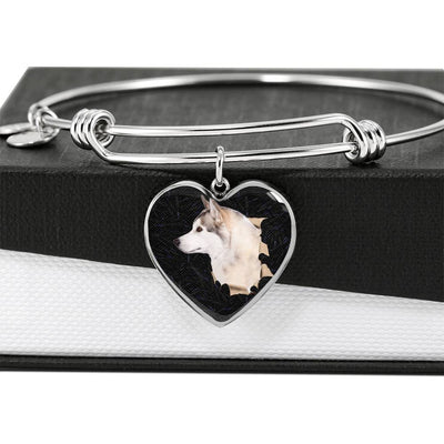 Siberian Husky Dog 3D Print Heart Pendant Bangle-Free Shipping - Deruj.com