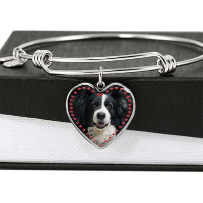 Border Collie Print Luxury Heart Charm Bangle-Free Shipping - Deruj.com