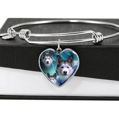 Siberian Husky Print Luxury Heart Charm Bangle-Free Shipping - Deruj.com