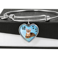 Toyger Cat Print Heart Pendant Bangle-Free Shipping - Deruj.com