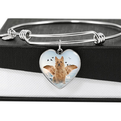 Australian Terrier Print Luxury Heart Charm Bangle -Free Shipping - Deruj.com