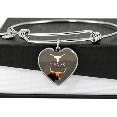 Texas Longhorn Cattle (Cow) Print Heart Pendant Luxury Bangle-Free Shipping - Deruj.com