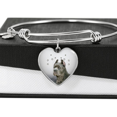 Cane Corso Print Luxury Heart Charm Bangle-Free Shipping - Deruj.com