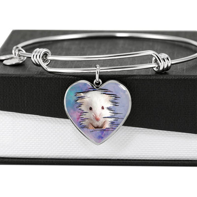Cute White Hamster Print Heart Pendant Bangle-Free Shipping