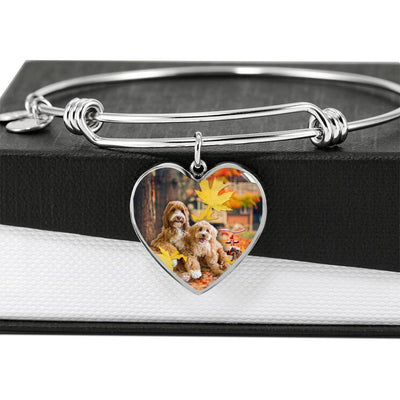 Labradoodle Print Luxury Heart Charm Bangle-Free Shipping - Deruj.com