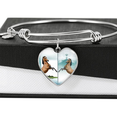 Lusitano Horse Print Heart Pendant Luxury Bangle-Free Shipping - Deruj.com