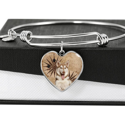 Cute Siberian Husky Print Luxury Heart Charm Bangle-Free Shipping - Deruj.com