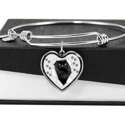 Nebelung Cat Print Heart Pendant Bangle-Free Shipping - Deruj.com
