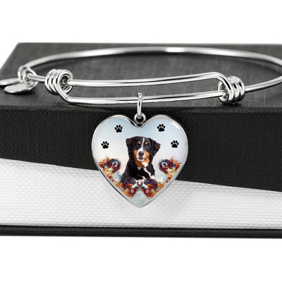 Bernese Mountain Dog Print Luxury Heart Charm Bangle-Free Shipping - Deruj.com