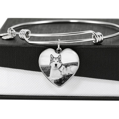 Alaskan Malamute Print Luxury Heart Charm Bangle -Free Shipping - Deruj.com