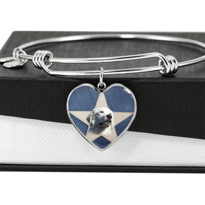 Great Pyrenees Print Luxury Heart Charm Bangle-Free Shipping - Deruj.com