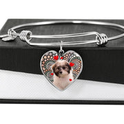 Cute Havanese Dog Print Luxury Heart Charm Bangle-Free Shipping