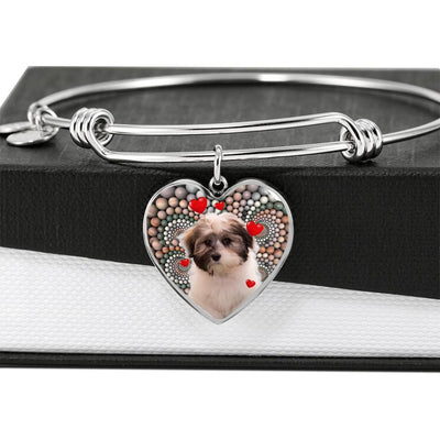 Cute Havanese Dog Print Luxury Heart Charm Bangle-Free Shipping - Deruj.com